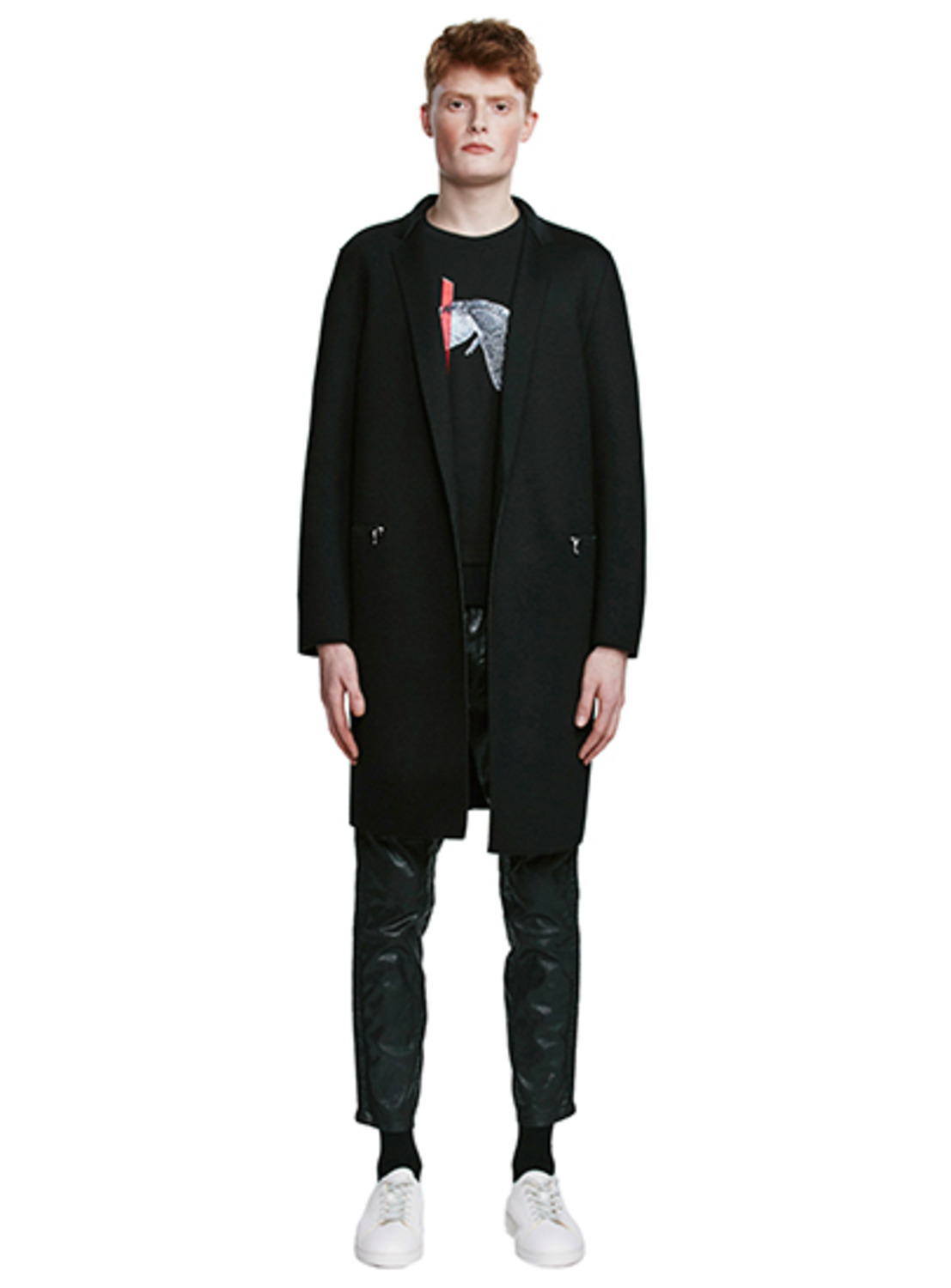 Black Neoprene Long Blazer