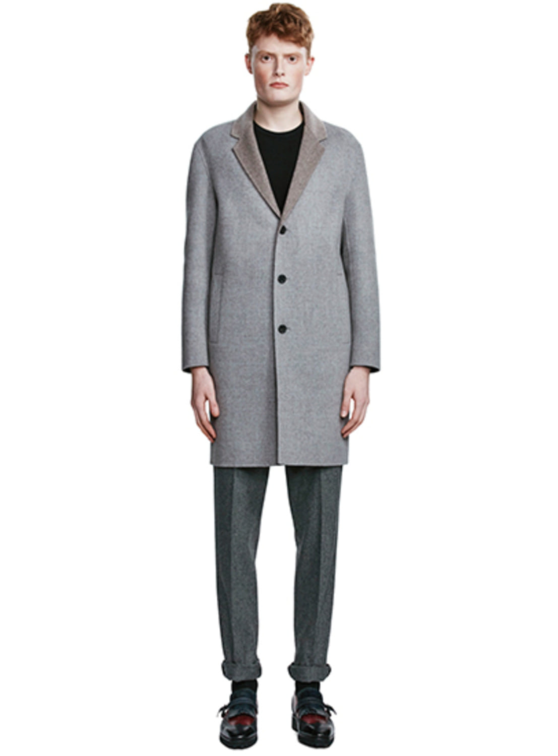 Grey Check Two-Tone Single Button Coat