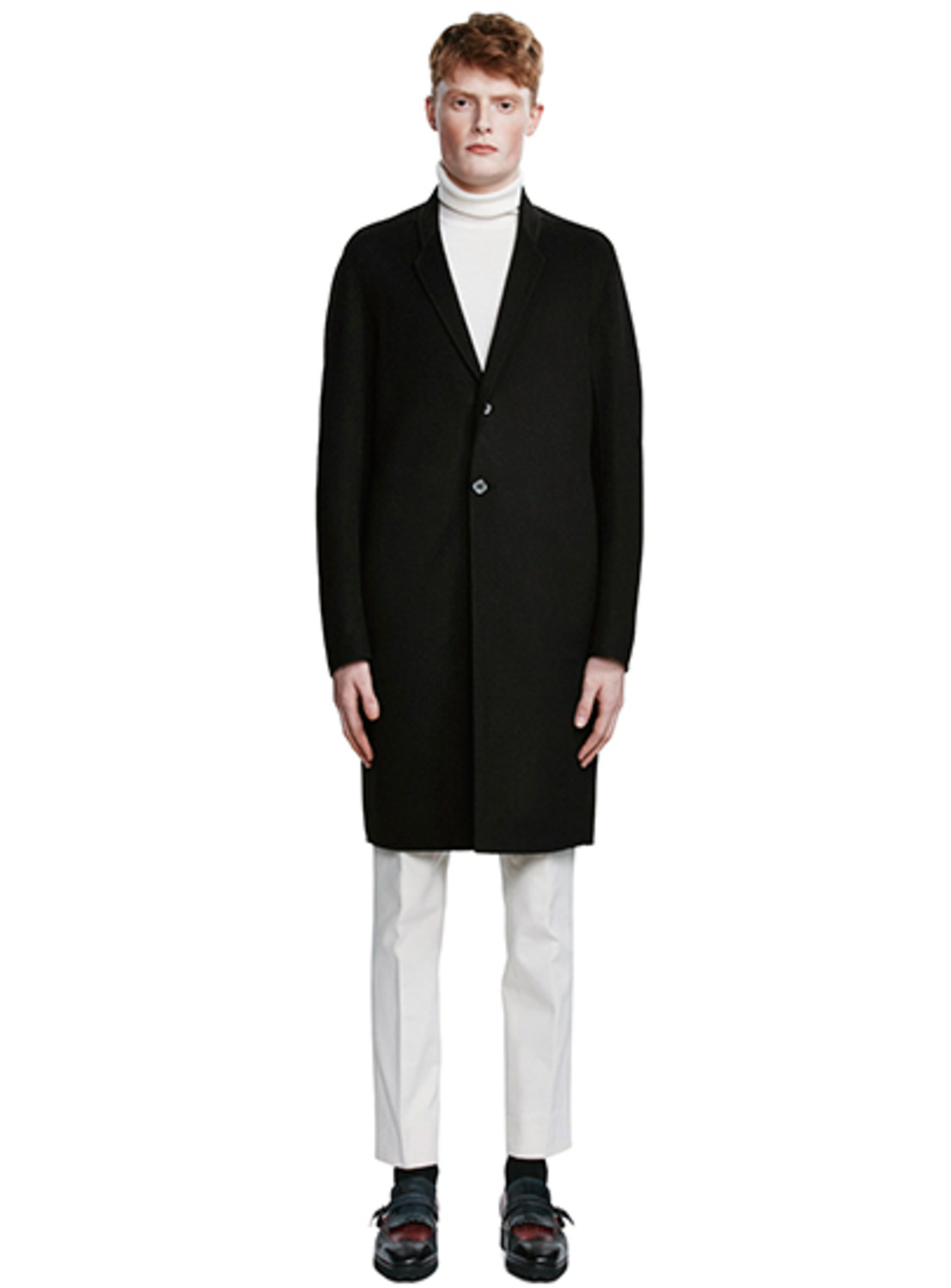 Black Wool & Cashmere Belted Back Coat