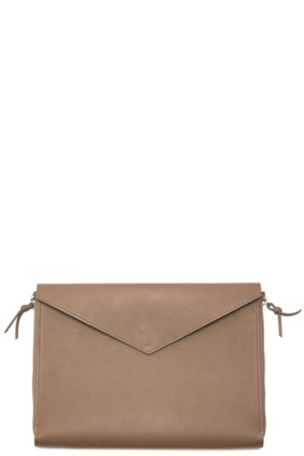 GreyBrown Two Side Zipper Clutch